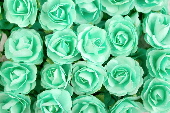 72 roses mint green paper flowers bouquets 30 mm roses with wire stems 72 blossoms total flower ball wedding bridal bouquet from