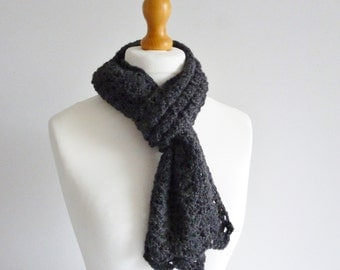 Charcoal alpaca scarf - mid length scarf - soft and warm - dark grey - lace pattern