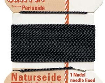 Black Griffin Silk Bead Cord, Black Cord, Size 8, 6 Foot Card with Needle, .8mm Black Cord, Cord with Needle, Thin Black Cord, Black Silk