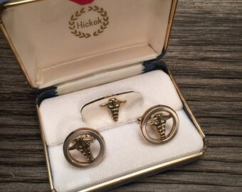 Hickok Three (3) piece Gold Tone Cufflinks and Tie Pin - Perfect for Doctors and Medical Students