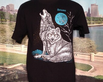 Original 1980's two wolf moon t-shirt, large