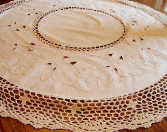 Antique Madeira Table Cover Hand Crochet and Linen Small Tablecloth Table Topper Doily