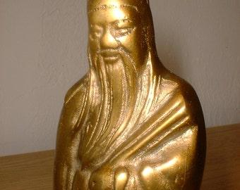 Solid BRASS Japanese Lucky God JUROJIN Longevity Wealth
