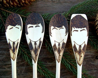 Beatle Wooden Spoons -Set of 4- The Beatles 1964 Ed Sullivan Gifts Woodburned Home Decor Fab Four Christmas Art Food Lovers Gifts Under 30