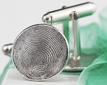 Fingerprint Cufflinks Cuff Links Jewelry for Men Fine Silver with Sterling Silver Gift for Father's Day Dad Groom Him