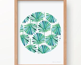 Tropical Fan Leaf ROUND Print