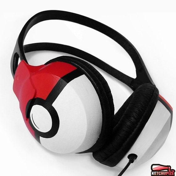 Pokemon gift for her Poke-phones custom headphones birthday gift for him Pokemon go Pokeball video game red sound cool big large earphones