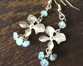 Aquamarine Earrings - March Birthstone - Sterling Silver Jewelry - Gemstone Jewellery - Flower - Blue
