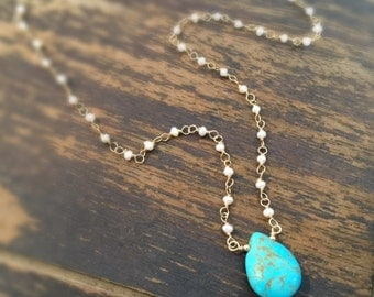Turquoise Necklace - White Pearl Gemstone Jewellery - Gold Jewelry - Fashion - Trendy