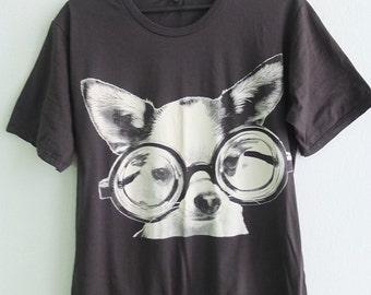 Chihuahua Cute Dog Sunglasses Graphic Pop Print T-Shirt L or XL
