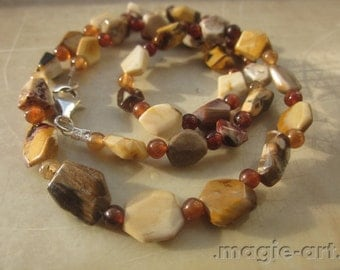 Peanut Wood Jasper and Hessonite Necklace