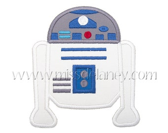 White Droid Applique Design