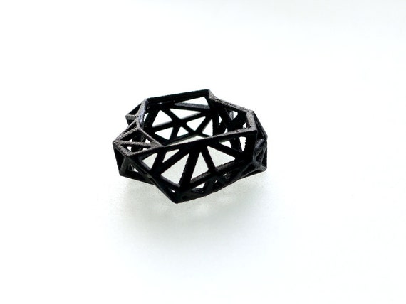 geometric ring - Triangulated Ring in Black. 3d printed. triangle jewelry. modern statement jewelry SALE