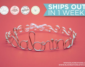 Personalized Tiara / Personalized Crown / Bachelorette Tiara / Birthday Tiara / Wire Name / Wire Name / Crown / Tiara / Tiara with Veil