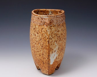 Wheel Thrown and Altered Triangular Ikebana / Flower Vase by HsinChuen Lin