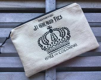 Makeup Pouch Cosmetic Bag Linen Crown Paris Perfume Enter Coupon Code SALE50 and Save 50%