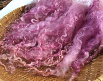 Hand Dyed British Teeswater Wool locks,38gms for Waldorf Dolls, Art Dolls, Blythe Dolls, Spinning and Felt Making 'Violet Moon' colorway