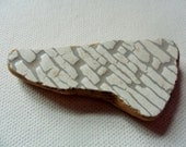 Large Grey and white patterned sea pottery shard - Lovely pendant shaped Northumberland English beach find