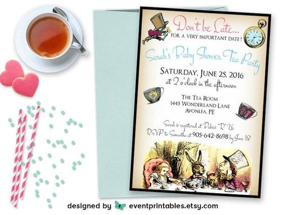 alice in wonderland invitation baby shower birthday bridal, Baby shower invitations
