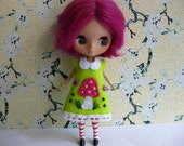 RESERVED Toadstool Dress (Lime)