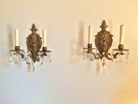 Pair of Vintage Brass Crystal Sconces from Spain