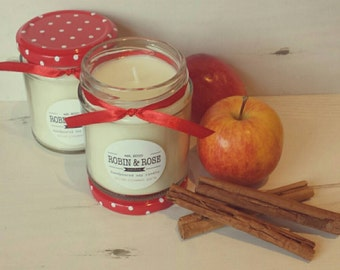 Spiced Cinnamon Apple Eco Soy Candle Jar Handmade. 190ml, 7oz. Home decor fragrance // Christmas scent // gifts for her