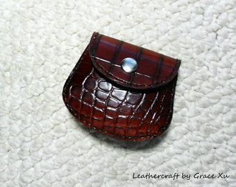 100% hand stitched handmade alligator embossed cowhide leather Ipod, ear buds, coin, trinket, jewelry,case / pouch