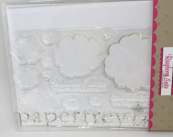 Paper tray ink stamp set, paper tray ink bloomers stamps, PTI stamp set flowers SALE price