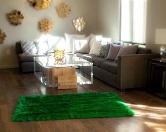 Fur faux Area Rug 5  x 8  New Premium Kelly Green Shag Nursery RoomArea rug 5x8   Etsy. Green Living Room Rug. Home Design Ideas