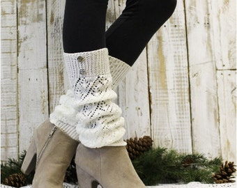 Leg warmers ivory, pointelle knit legwarmers boots socks womens knit leg warmers buttons Catherine Cole Studio LW28