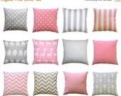 SALE Nursery Pillow Covers, Pink and Grey Pillows, Zippered Pillow, Baby Pink Pillow, Storm Grey Throw Pillow, Baby Girl Decor, Crib Bedding