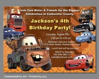 Cars Birthday Invitation, Mater Invitations, Disney Cars Invitations, Cars Invitations, Lightning McQueen Invitations, Photo Option