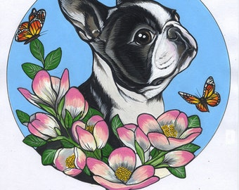 Original Boston Terrier Drawing / Acrylics on paper / A4