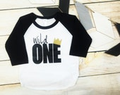 Wild One Raglan / Wild One Shirt / family photos, birth announcement, sibling announcement, gender reveal