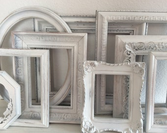 10 Shabby Cottage Chic  Picture Frames - Gallery Wall - Painted - Wedding - French Cottage - White Ornate Distressed - Nursery - Open Frames