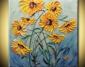 Sunflowers Abstract ORIGINAL Modern Flowers Painting 30x30 Fine Art Deco Impasto heavy texture Palette knife oil home Hand Painted - IraSher