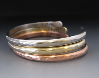 TWO sided Personalized Custom Thin Stacking Bracelets / SET of  3 Cuffs / Copper, Gold or Silver / Personalized Jewelry / Anniversary