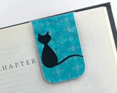 Laminated Magnetic Bookmark Cat Feline Teal White Black Silhouette Teacher Gift Christmas Valentines Student College