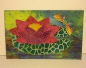Water Lily Dragonfly Birthday Mom Friend Card -MADE TO ORDER- Frame Gift Thank You Hello Housewarming Fabric Postcard Art Quilt Fabric 4x6