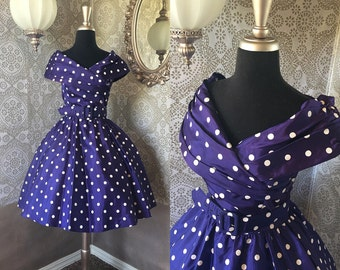 Vintage 1980's Blue and White Polka Dot Dress XS/Small