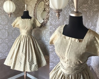 Vintage 1950's Polished Cotton Dress with Diamond Print Medium