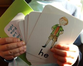 Sight Word Art Flashcards, set A, kindergarten, preschool graduation, teacher gift, learn to read