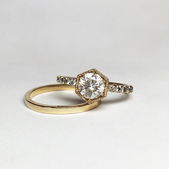 Hexagon Engagement Ring and Band