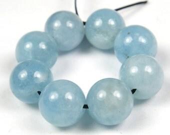 Quality Natural Aquamarine Round Bead - 8.7mm - 8 Pieces - B3963