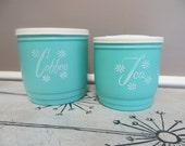 Vintage Canister Set Turquoise Canisters Kitchen Kitchen Canisters Plastic Canister Four Canister Kitchen Storage Storage Blue Kitchen