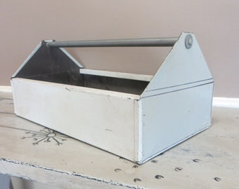 Industrial Metal Carryall Grey Storage Storage Box Storage Tin Storage Basket Industrial Storage Rustic Tool Chest Metal Storage Chippy