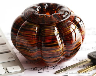 Small Hand Blown Glass Bowl - Bulging Ribs with Dark Hot Colors