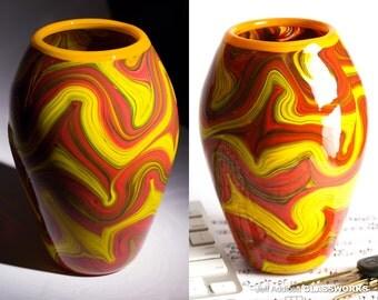 Hand Blown Art Glass Vase - Tall Basket Shape with Hot Earthy Swirls