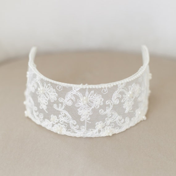 Vintage Lace Bridal Cap, Ivory Lace Cap, Ivory Headpiece, Ivory Lace Crown, Princess Grace, Ivory Veil Cap, Wedding Cap Headpiece - STYLE 33