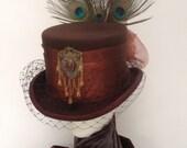 Steampunk bronze & brown bustle  Neo Victoria top hat